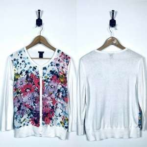 Ann Taylor Large Floral Cardigan Button Front